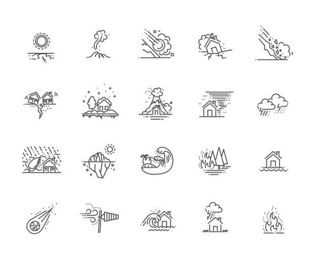 natural disaster icons thin line line icons for Natural Disaster Contains such Icons as earth quake avalanche stock illustrations