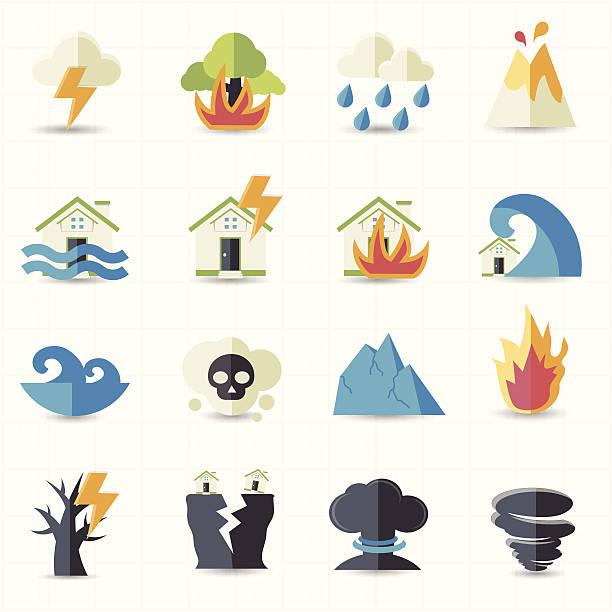 illustrations, cliparts, dessins animés et icônes de icônes de catastrophe naturelle - desastre natural