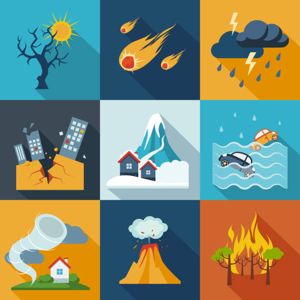 Natural Disaster Icons A set of natural disaster icons in fresh colors. storm stock illustrations