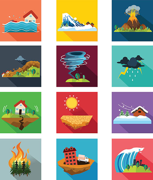 Natural Disaster Icons A vector illustration of natural disaster icon sets avalanche stock illustrations