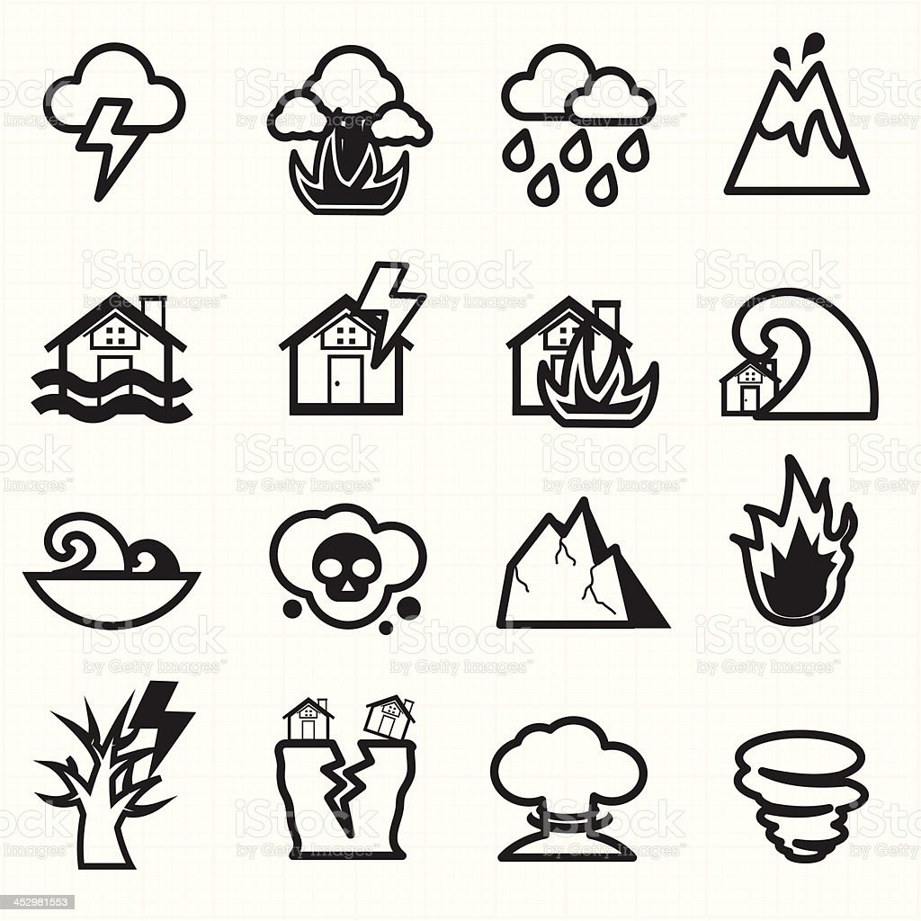 Natural disaster icons vector vector art illustration