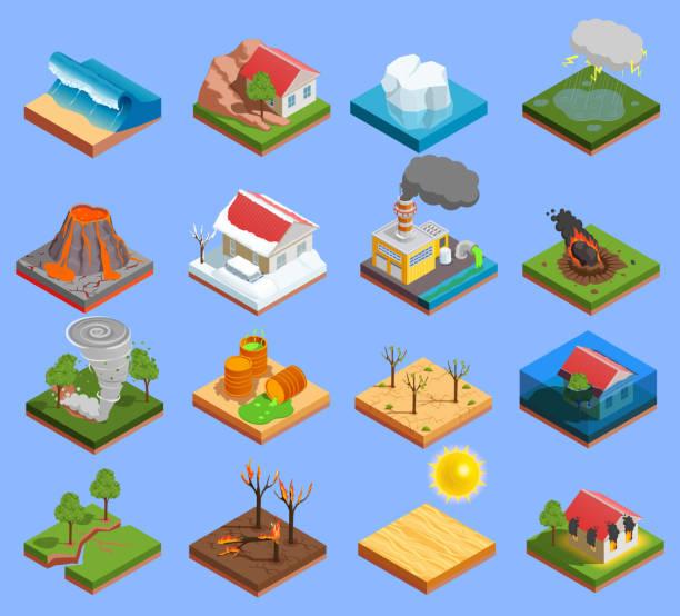Isometrische Symbole für Naturkatastrophen – Vektorgrafik