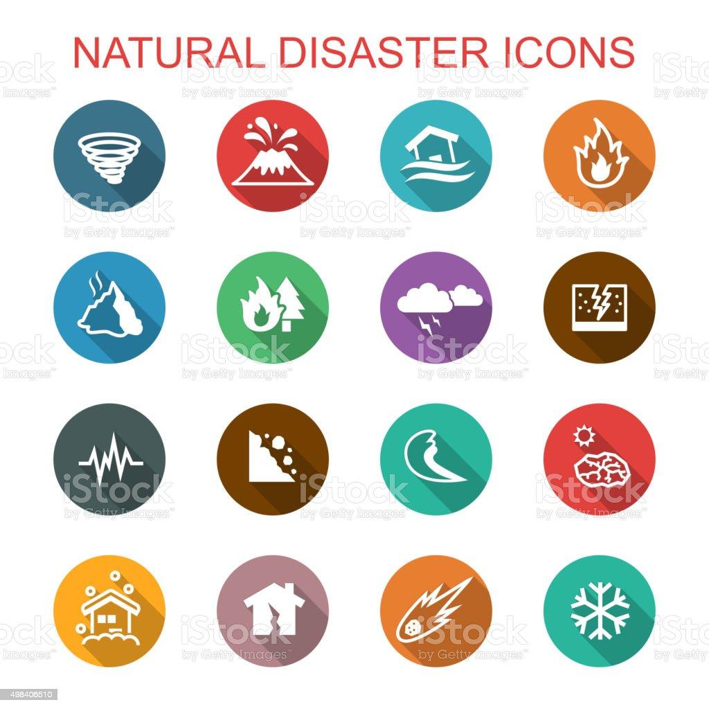 natural disaster long shadow icons vector art illustration