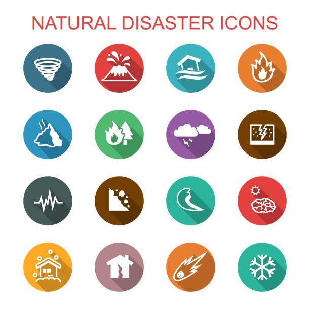 illustrations, cliparts, dessins animés et icônes de icônes de catastrophe naturelle longue ombre - desastre natural
