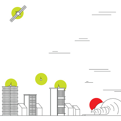 Natural disaster prevention with an array of sensors, satellite and monitoring to assist cities in safety measures deployment. Smart city and integration of the new 5G network. Bold black and white illustration with bright colorful highlights.