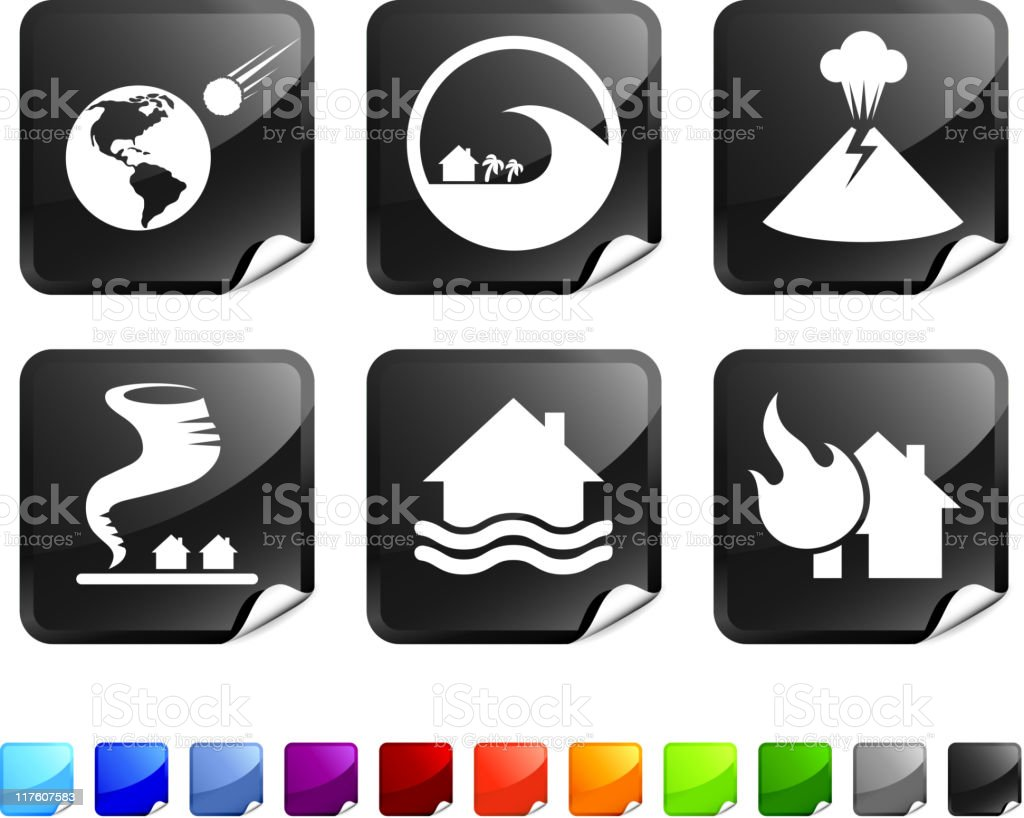 natural disaster royalty free vector icon set stickers royalty-free natural disaster royalty free vector icon set stickers stock vector art & more images of black color