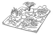 Hand-drawn vector drawing of Natural Disaster Symbols On a Map, Wildfire, Storm Flood, Thunderstorm and Tornado. Black-and-White sketch on a transparent background (.eps-file). Included files are EPS (v10) and Hi-Res JPG.
