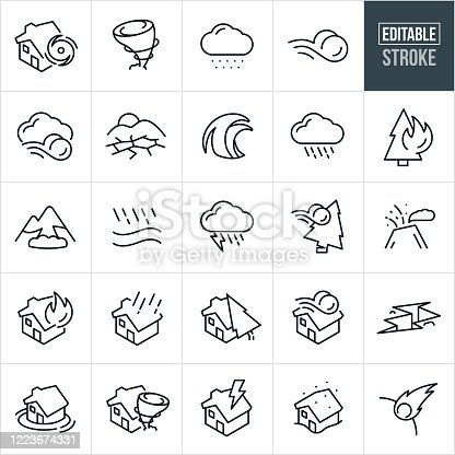 A set of natural disaster icons that include editable strokes or outlines using the EPS vector file. The icons include a hurricane, tornado, snow storm, wind, drought, wave, tsunami, thunderstorm, forest fire, avalanche, flood, lightning, volcano, house fire, house disaster, earthquake, house flood, blizzard and astroid to name a few.