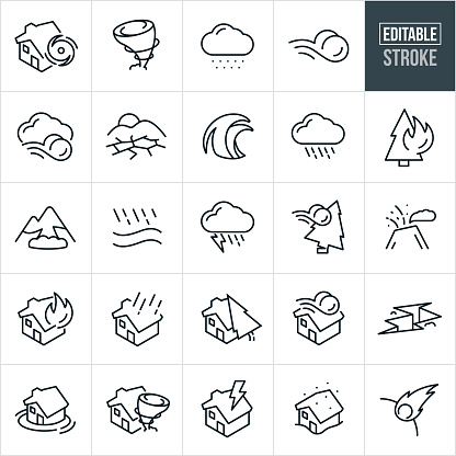 Natural Disaster Thin Line Icons - Editable Stroke