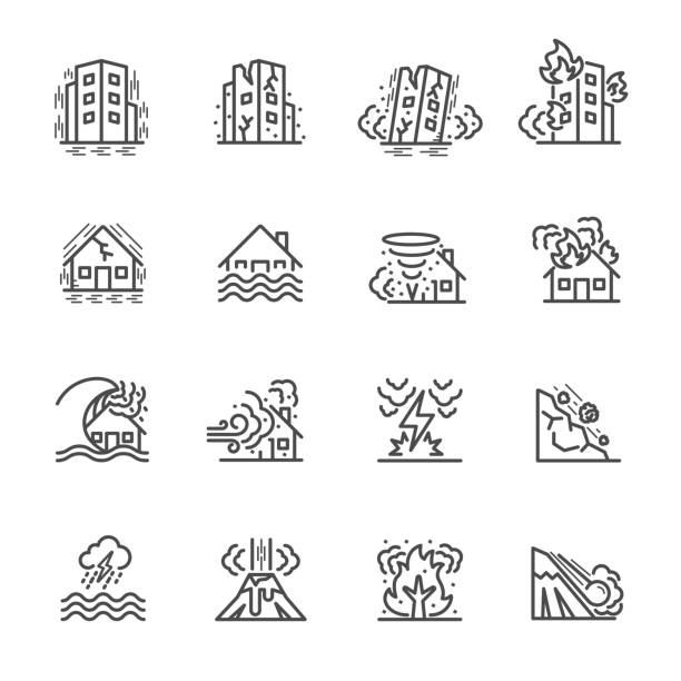 Natural Disaster, Vector illustration of thin line icons for Natural Disaster Contains such Icons as earth quake, flood, tsunami and other Natural Disaster, Vector illustration of thin line icons for Natural Disaster Contains such Icons as earth quake, flood, tsunami and other damaged stock illustrations