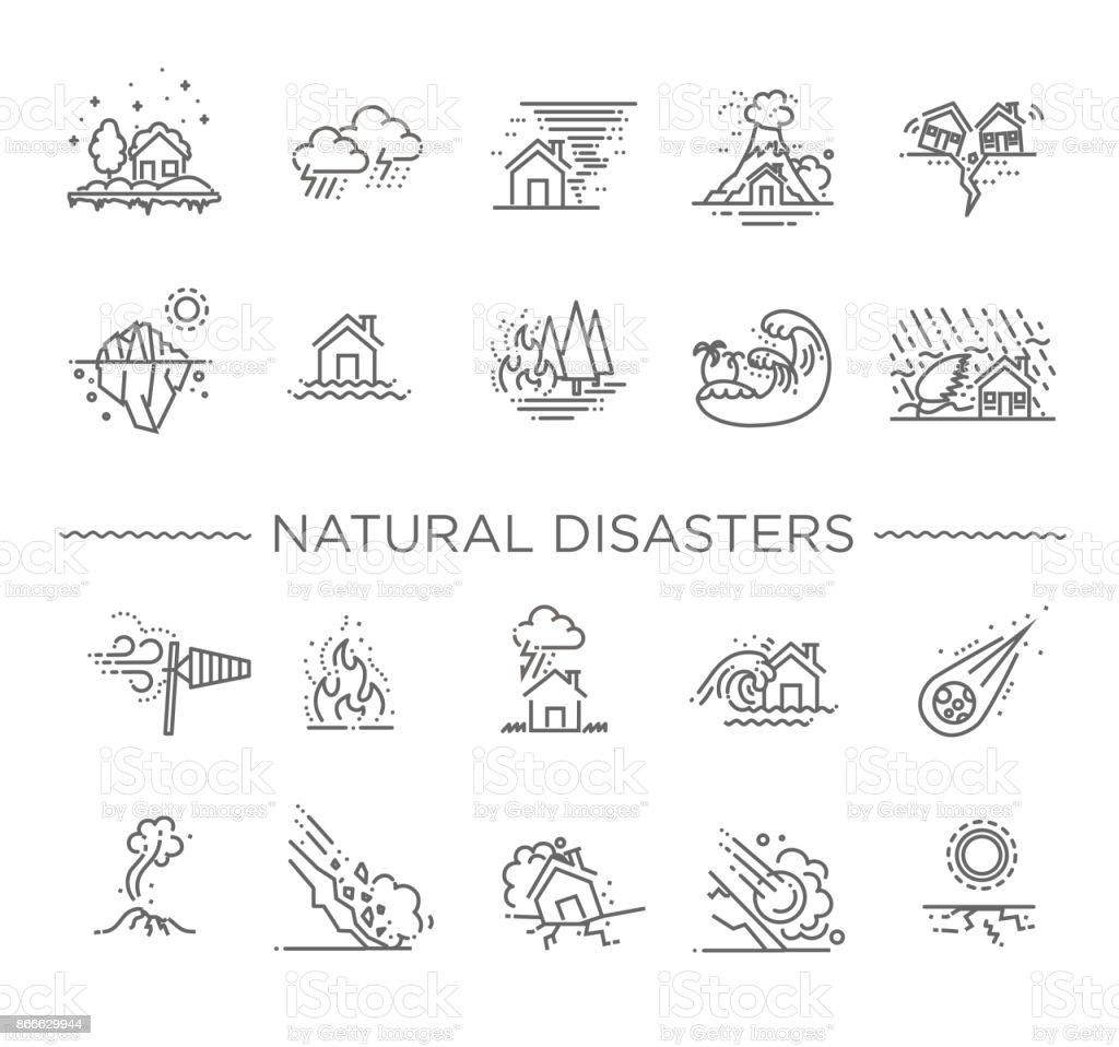Natuurramp, vectorillustratie van dunne lijn pictogrammen - Royalty-free Aardbeving vectorkunst