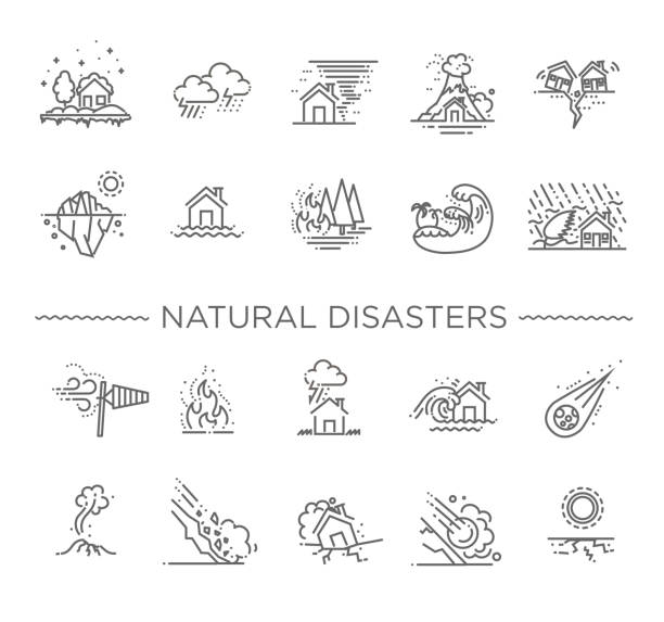 Natural Disaster, Vector illustration of thin line icons line icons for Natural Disaster Contains such Icons as earth quake, flood, tsunami extreme weather stock illustrations
