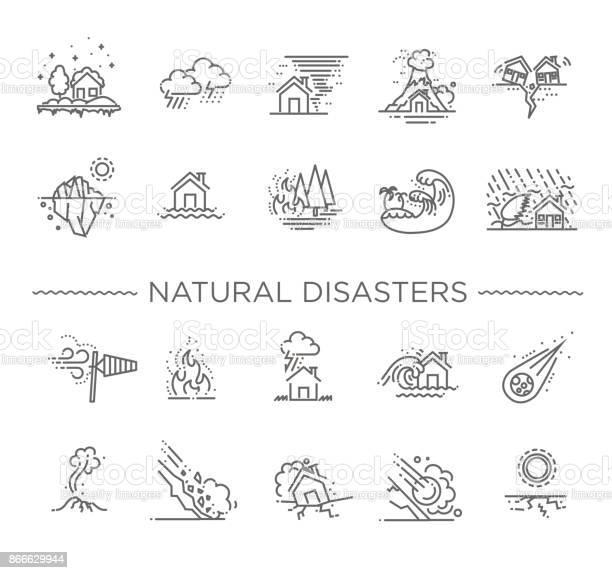 Natuurramp Vectorillustratie Van Dunne Lijn Pictogrammen Stockvectorkunst en meer beelden van Aardbeving
