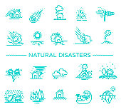 line icons for Natural Disaster Contains such Icons as earth quake, flood, tsunami