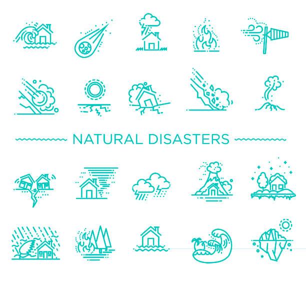 illustrations, cliparts, dessins animés et icônes de catastrophe naturelle, illustration vectorielle des icônes de la mince ligne - desastre natural