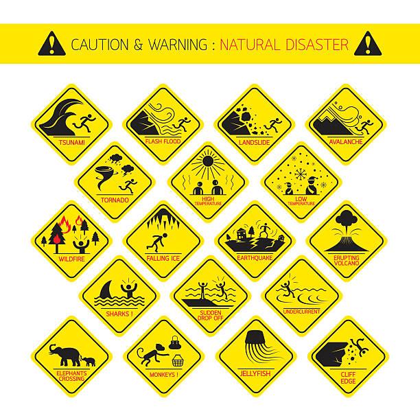 illustrations, cliparts, dessins animés et icônes de catastrophe naturelle des panneaux d'avertissement - desastre natural