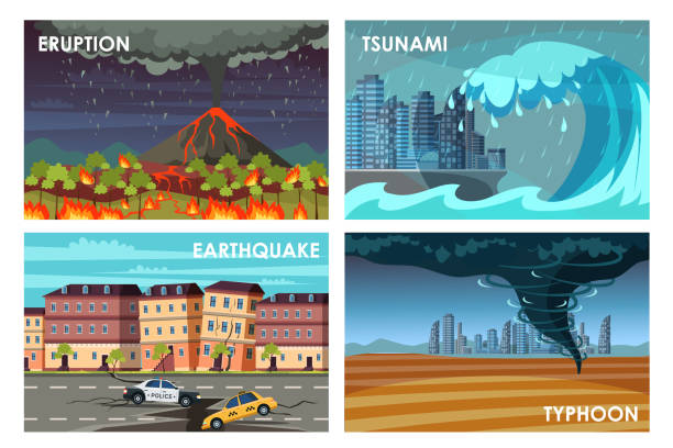 Natural disasters flat vector illustrations set Natural disasters flat vector illustrations set. Eruption, tsunami, earthquake, typhoon. Catastrophe, cataclysm damage concept. Dangerous phenomenons. Educational poster, social banner idea tsunami stock illustrations