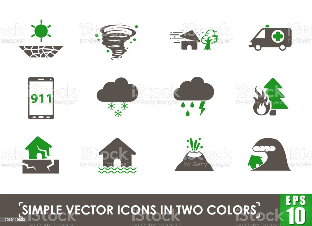 natural disasters simple vector icons in two colors
