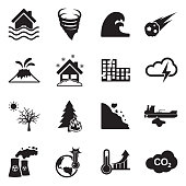 Natural Disasters Icons. Black Flat Design. Vector Illustration.