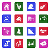 Natural Disasters Icons. White Flat Design In Square. Vector Illustration.