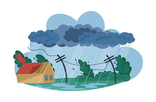 Natural disasters Tropical cyclones. Swirling tornado in village destroy houses, tropical rainstorm with strong wind breaks trees blows off roof of building. Huge wind, waterspout storm