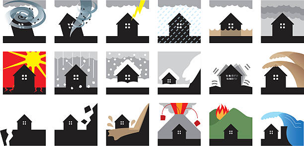 Natural disasters Natural disasters hailstorm stock illustrations