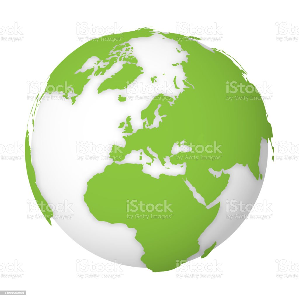 Natural Earth Globe 3d World Map With Green Lands Dropping
