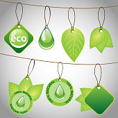 Abstract Natural Eco Round Price Tags Concept Designs with Leaves  - Illustration in Editable Vector Format