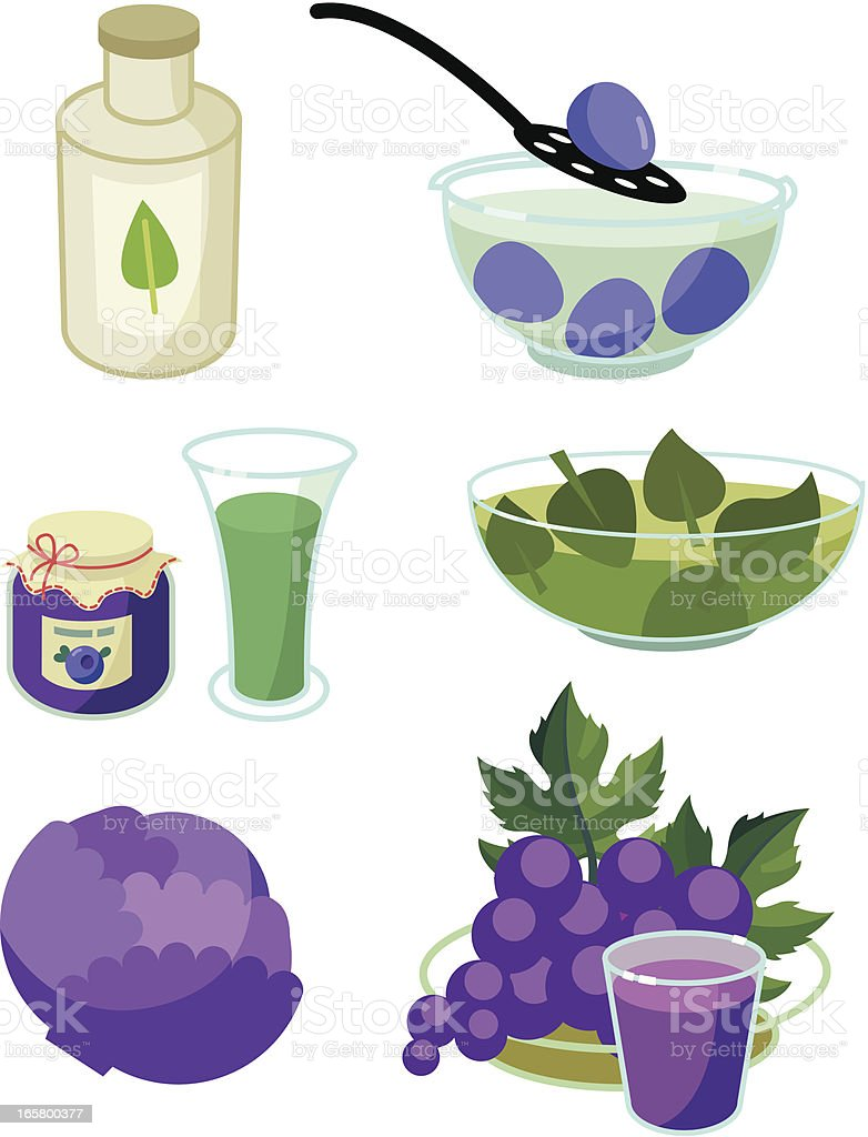 Natural egg dyes: green and blue royalty-free stock vector art