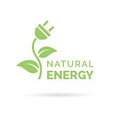 Natural energy icon with electric plug, plant and leaf symbol
