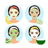 Natural facial masks. Homemade cosmetics facial mask set for cartoon cute girl face vector illustration