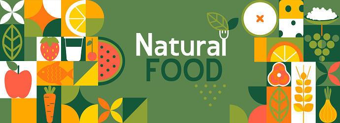 Natural food banner in flat style.