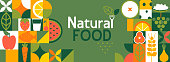 istock Natural food banner in flat style. 1290991842