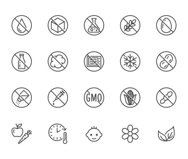 ilustraciones, imágenes clip art, dibujos animados e iconos de stock de alimentos naturales línea plana iconos conjunto. azúcar, sin gluten, sin grasas trans, sal, huevo, nueces, ilustraciones vectoriales de vegano. delgado signos para embalaje, fecha de caducidad. pixel perfecto 64 x 64. movimientos editables - alergias alimentarias