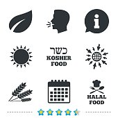 Natural food icons. Halal and Kosher signs.
