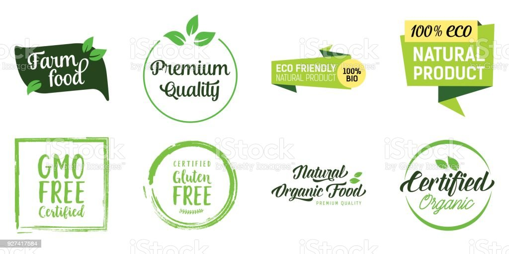 Natural Food Lettering Set vector art illustration