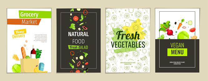 Natural food, Vegan menu, Fresh vegetables, Grocery market concept.