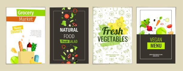 bildbanksillustrationer, clip art samt tecknat material och ikoner med naturlig mat, vegansk meny, färska grönsaker, dagligvarumarknad koncept. - supermarket