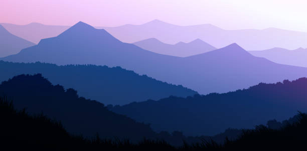 Natural forest mountains horizon hills silhouettes of trees. Evening Sunrise and sunset. Landscape wallpaper. Illustration vector style. Colorful view background. Natural forest mountains horizon hills silhouettes of trees. Evening Sunrise and sunset. Landscape wallpaper. Illustration vector style. Colorful view background. mountains in mist stock illustrations