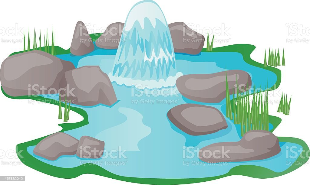 Natural fountain spring water vector vector art illustration