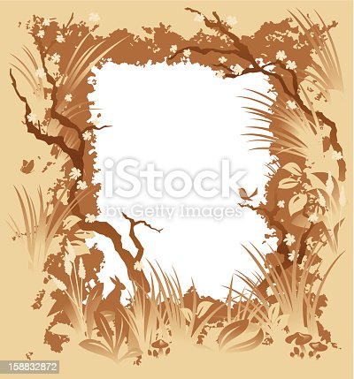 A vector illustration  of a frame made with natural elements: branches, leaves, flowers, plants, and three little animals: a bird, a rabbit and a butterfly. Simple gradients used.