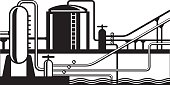 Natural gas and oil hub on pipeline - vector illustration