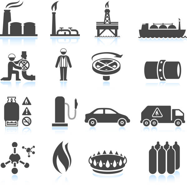 stockillustraties, clipart, cartoons en iconen met natural gas black & white royalty free vector icon set - waterstof