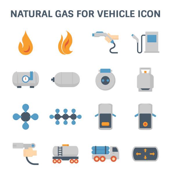 ilustraciones, imágenes clip art, dibujos animados e iconos de stock de icono de gas natural - gas