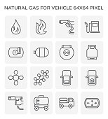 Natural gas vehicle icon set, 64x64 pixel perfect and editable stroke.