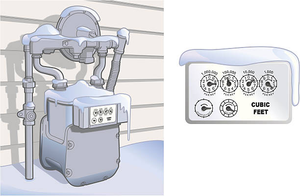 Natural Gas Meter in the Snow vector art illustration