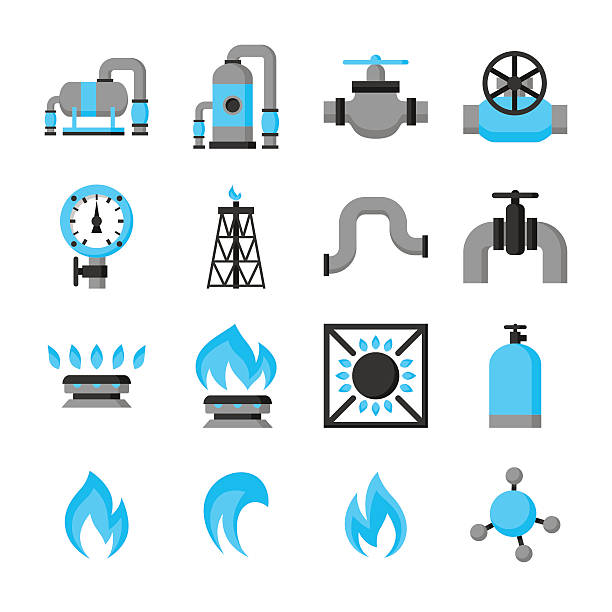 illustrazioni stock, clip art, cartoni animati e icone di tendenza di natural gas production, injection and storage. set of objects - benzina
