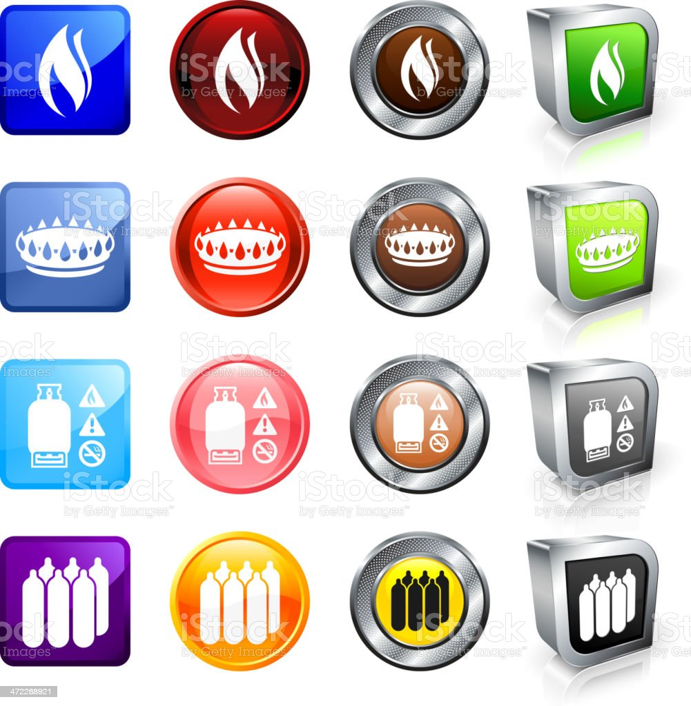 Natural Gas royalty free vector button set royalty-free stock vector art