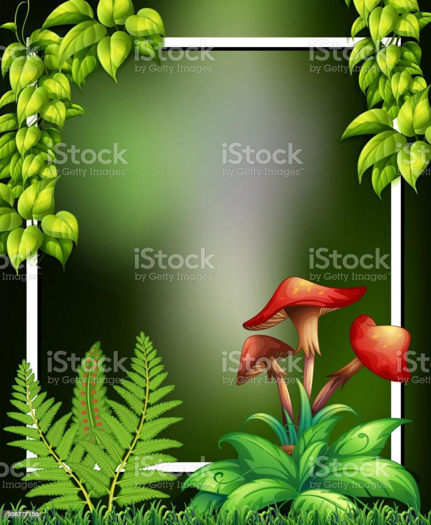 Einem Natürlichen Grünen Rahmen Und Pilz Stock Vektor Art und mehr ...