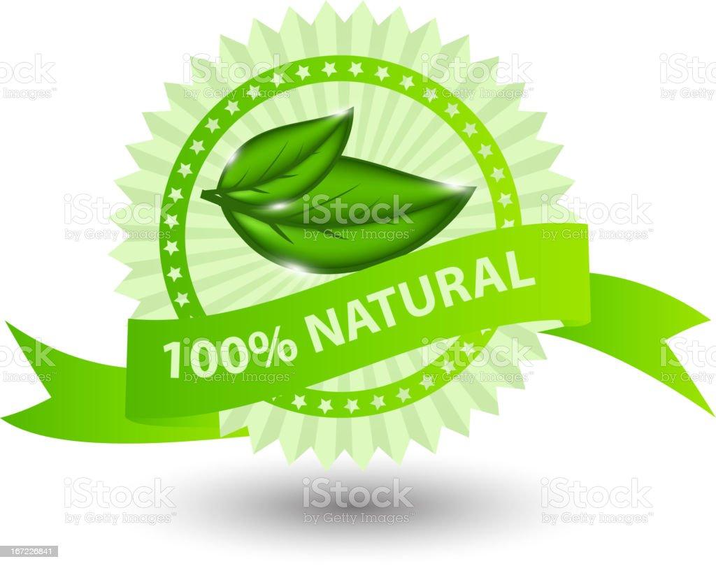 100% natural green label isolated on white.vector illustration vector art illustration